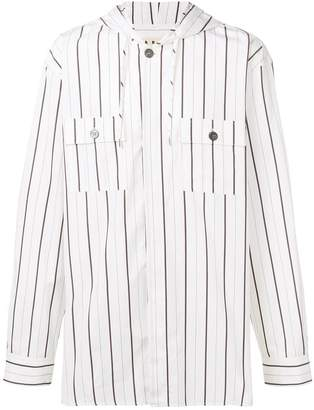 Marni striped hooded shirt