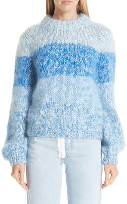 Ganni Julliard Stripe Mohair & Wool Sweater
