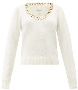 Bottega Veneta Chain Trim Scoop Neck Wool Sweater - Womens - White