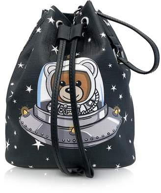 Moschino Space Teddy Bear Black Bucket Bag