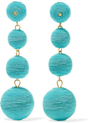 Kenneth Jay Lane - Gold-plated Cord Earrings - Turquoise $95 thestylecure.com