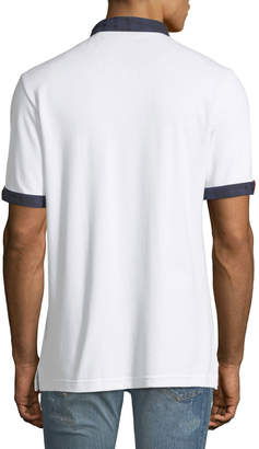 Maceoo Check-Trim Pique Polo Shirt