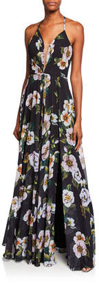 Faviana Floral-Print Halter Gown with Lace-Up Tie-Back