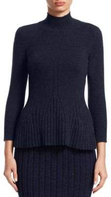 Gentry Portofino Cable-Knit Cashmere Turtleneck Top