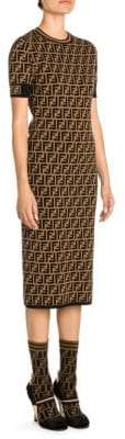 Fendi Knit Allover Logo Midi Dress