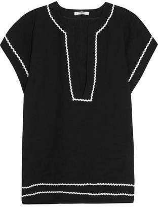 Marysia - Lanai Rickrack-trimmed Linen Tunic - Black $450 thestylecure.com