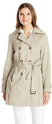 T Tahari Women's Fit and Flare Trench with Eyelit Back