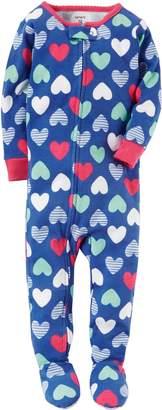 Carter's Girls' 12 Months-5T Multi Heart Print One Piece Cotton Pajamas