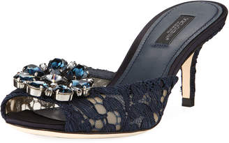 Dolce & Gabbana Keria Jeweled Lace Low-Heel Slide Sandals, Navy