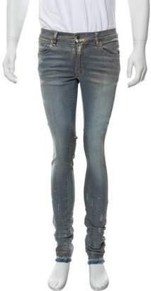 Amiri Distressed Coated Skinny Jeans