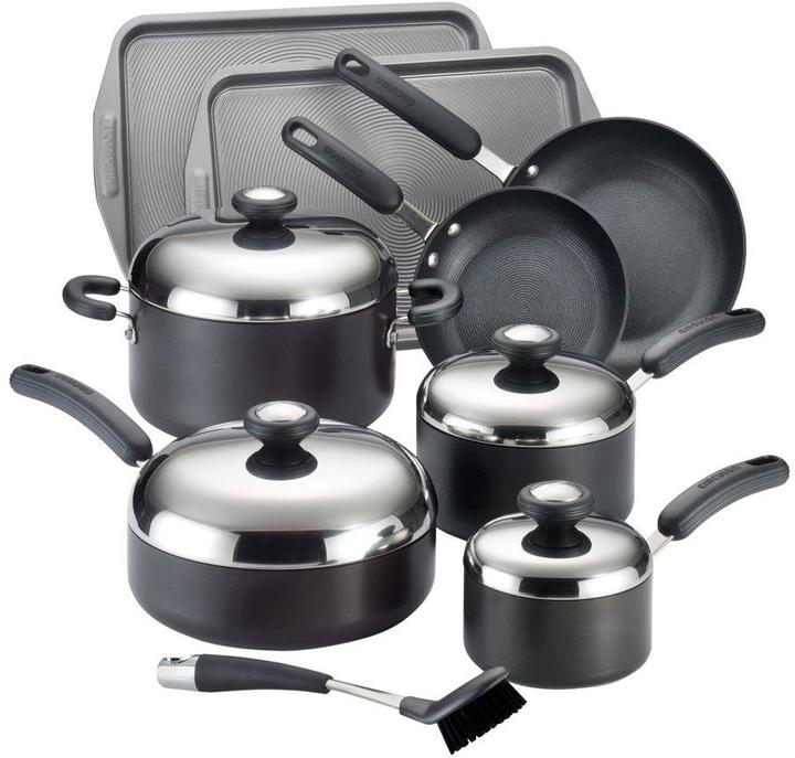 Circulon Total Hard-Anodized Nonstick 13-Piece Cookware Set in Black