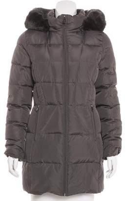 Calvin Klein Faux Fur-Trimmed Short Coat