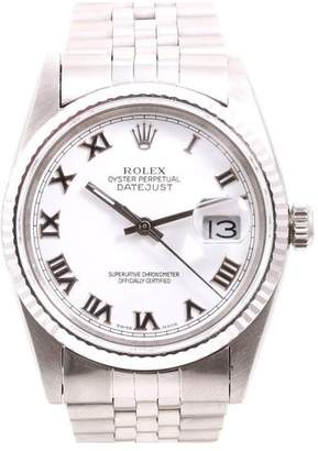 Rolex Datejust Quickset Stainless Steel White Roman Numeral Dial 36mm Mens Watch