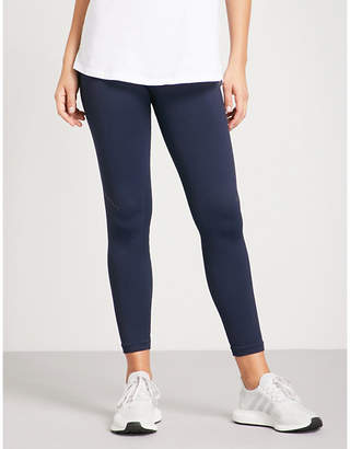 LNDR Womens Navy Blue Knitted Blackout Compression Performance Stretch-Jersey Leggings