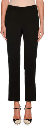 Giorgio Armani Straight-Leg Crop Wool Pants w/ Stitch Detail