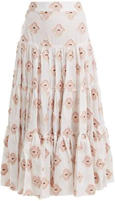 Caroline Constas Peasant floral-embroidered tiered skirt