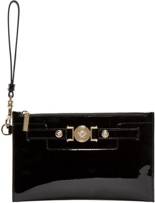 Versace Black Patent Leather Medusa Pouch $695 thestylecure.com