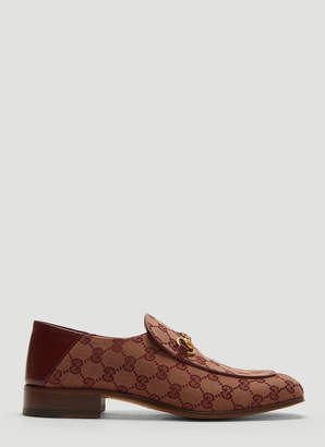 Gucci GG Canvas Horsebit Loafers in Burgundy