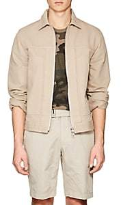 Officine Generale Men's Denim Bomber Jacket-Beige, Tan