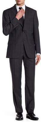 Hart Schaffner Marx Subtle Plaid Two Button Notch Lapel Wool New York Fit Suit