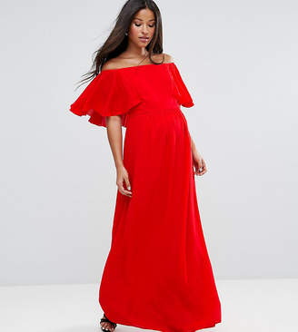 Queen Bee Maternity Off Shoulder Ruffle Maxi Dress