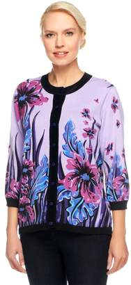 Bob Mackie Bob Mackie's Sweater Knit Floral Placed Print Cardigan with Solid Trim