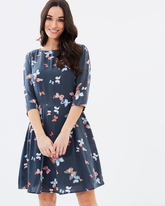 Butterfly 3/4 Sleeve Skater Dress