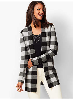 Talbots Open-Front Buffalo Plaid Cardigan