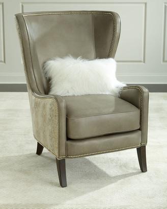 Massoud Pelham Leather Wingback Chair, Gray Metallic