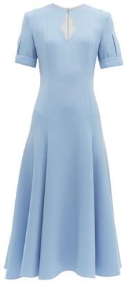Emilia Wickstead Ludovica Keyhole Slit Wool Crepe Midi Dress - Womens - Light Blue