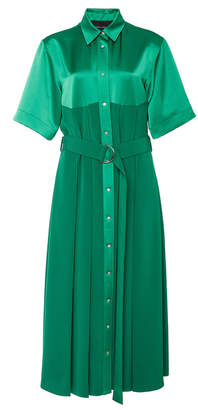 Cédric Charlier Collared Satin Shirt Dress