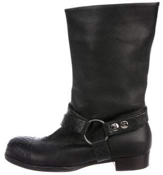 Chanel Leather Round-Toe Boots Black Leather Round-Toe Boots
