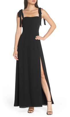 Fame & Partners Tie Shoulder Gown