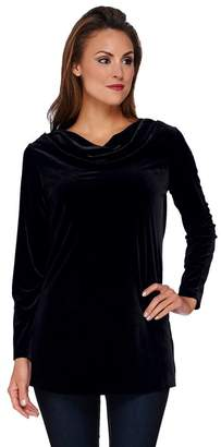Susan Graver Stretch Velvet Long Sleeve Drape Neck Tunic