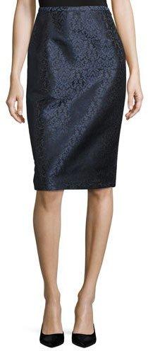 Michael Kors Paisley Jacquard Pencil Skirt, Black/Blue