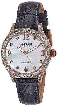 August Steiner Women's AS8188GY Rose Gold Crystal Accented Quartz Watch with White Mother of Pearl Dial and Gray Embossed Leather Bracelet
