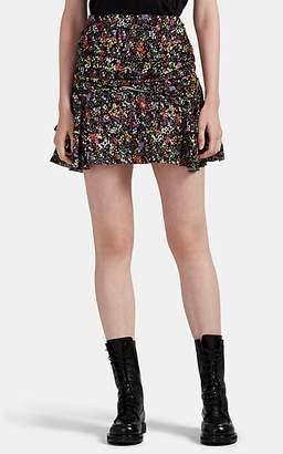 Derek Lam 10 Crosby Women's Ruched Metallic Floral Miniskirt - Black