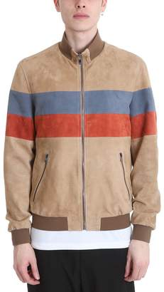 Drome Stripe Bomber Jackets In Beige Leather