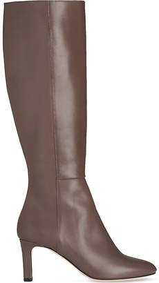 LK Bennett Ladies Grey Luxury Eloria Leather Knee Boots