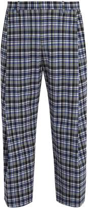 Wooyoungmi Wide-leg checked stretch-wool cropped trousers