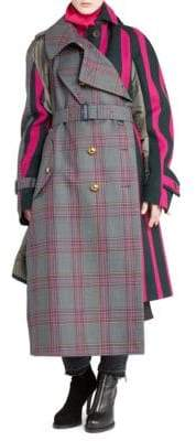 Sacai Glen Check& Stripe Combo Coat
