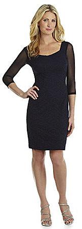 London Times Mesh-Sleeve Lace Sheath Dress
