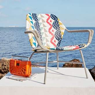 west elm All-Weather Wicker Colorblock Woven Outdoor Lounge Chair - Multi