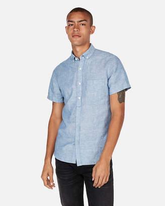 Express Slim Short Sleeve Button-Down Shirt