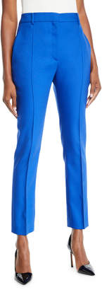 Valentino Front Pleat Mikado Skinny-Leg Pants