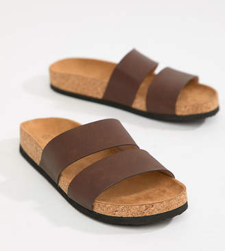 Monki double strap sandals in brown