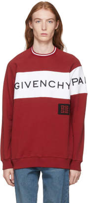 Givenchy Red and White Vintage Fit Logo Sweatshirt