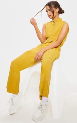 ff0368791913 PrettyLittleThing Mustard Faux Suede High Neck Zip Detail Jumpsuit