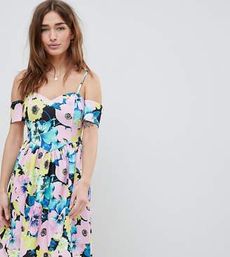Asos DESIGN Petite cold shoulder floral print prom dress