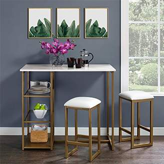 Dorel Living DA7700 Tanner 3-Piece Brass Pub Set with Faux Marble Top